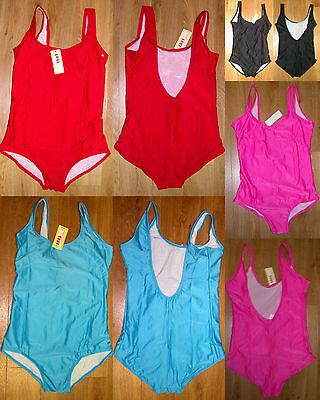 Badeanzug Schwimmanzug Damen Gr 40 42 44 46 48 rot pink türkis blau schwarz