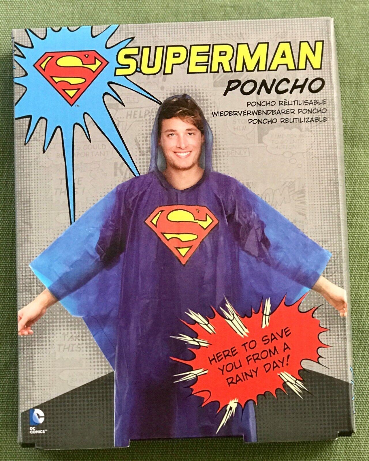 Superman Rain Poncho ONESZ Adult Hood DC Comics Blue New wit