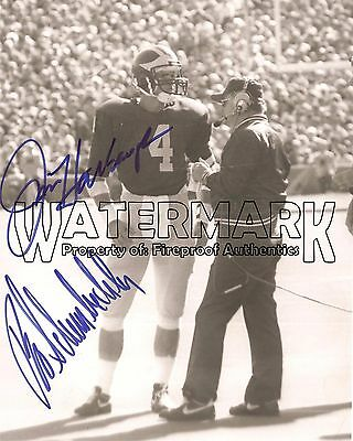 "BO SCHEMBECHLER & Jim Harbaugh Michigan Football pp SIGNED 8""x10"" Photo"