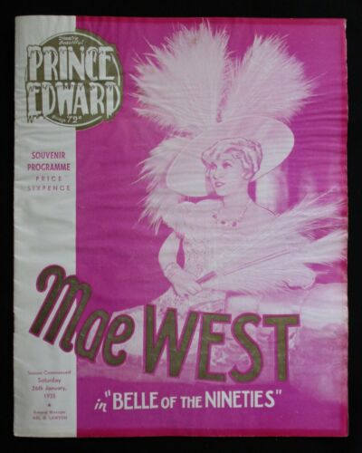 BELLE OF THE NINETIES 1935 Rare Australian souvenir movie programme Mae West