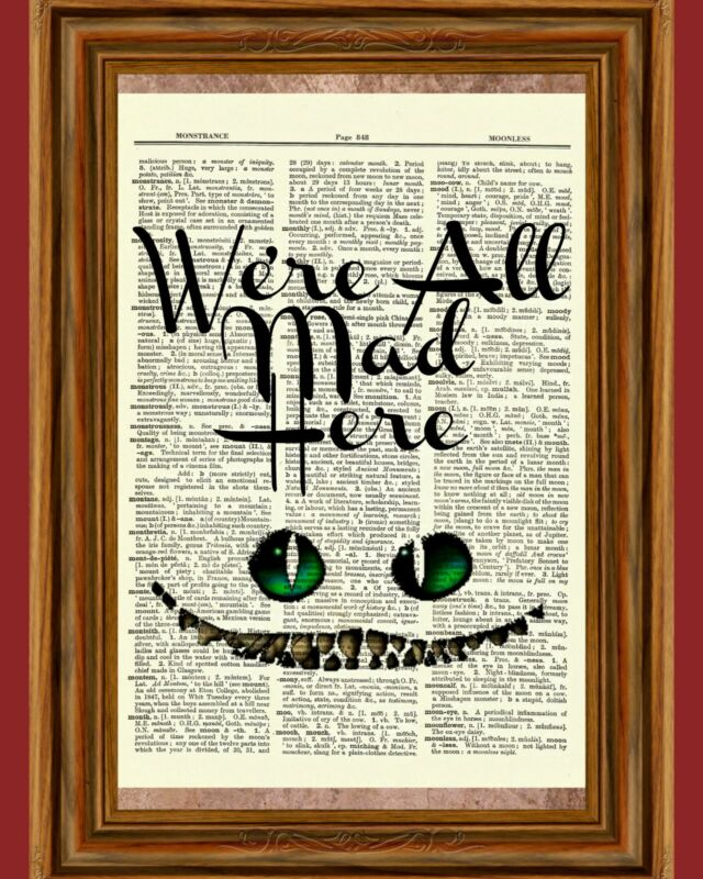 Alice in Wonderland Cheshire Cat Dictionary Art Print Book Page Picture Children