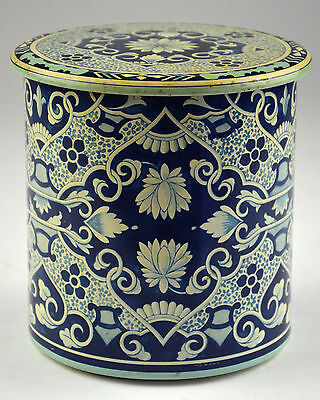 Delft Tin Storage Metal Flow Blue and White Dutch Canister Tea & Made in Holland