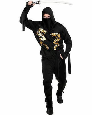 Black Dragon Ninja Halloween Costume for Adults, Mens 48-52 PLUS - Halloween Costumes For Black Men