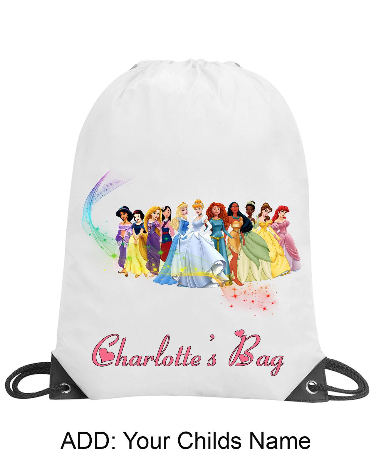 Purple Personalised Disney Princess School Drawstring Bag and Swimming Towel