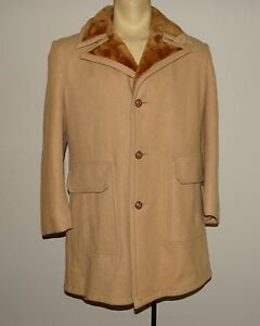 Vintage-Mens-Mac-Mor-tan-brown-wool-blend-jacket-overcoat-size-40
