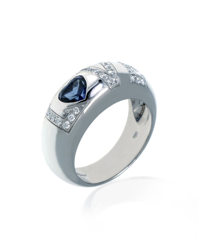 Chopard 18k White Gold Diamond And Sapphire Ring Sz 6.75 822900-1311 MSRP $10430