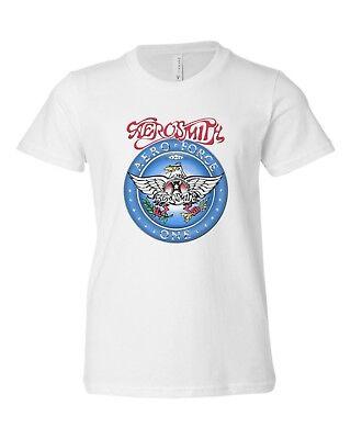 Kids Youth Music Rock Band Aerosmith Aero Force Halloween T-Shirt Tee-White