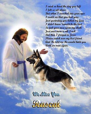Dog Memorial.-Gift Idea-German Shepherd w/Jesus Personalized w/Pet's Name