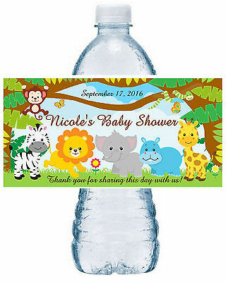 20 ZOO JUNGLE SAFARI BABY SHOWER FAVORS WATER BOTTLE LABELS ~ Waterproof Ink - Bottle Labels