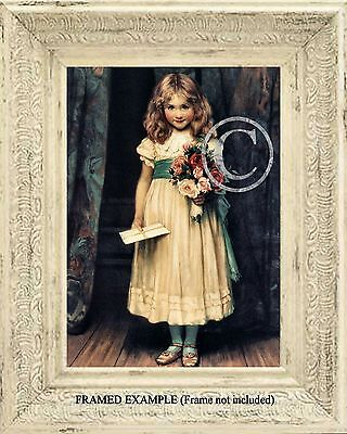 Victorian GIRL w/ LOVE LETTER INVITATION  and ROSES Bouquet Antique ART (Love Letter Art)