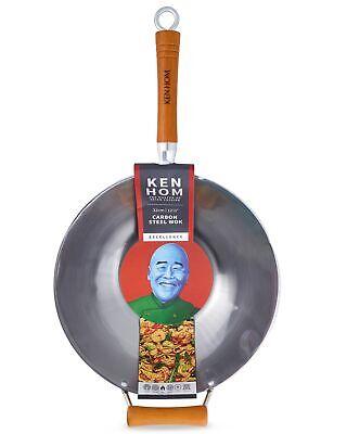 Ken Hom Excellence 32cm Carbon Steel Wok Induction Stir Fry Pan Flat Base