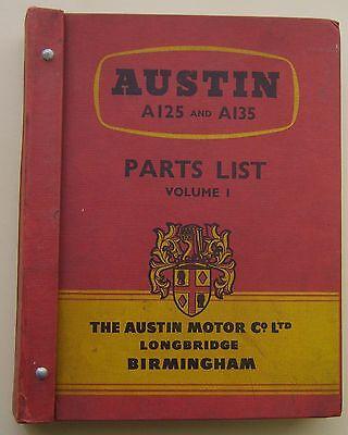 Austin A125 & A135 original illustrated Service Parts List 1956 Pub. No. 1150