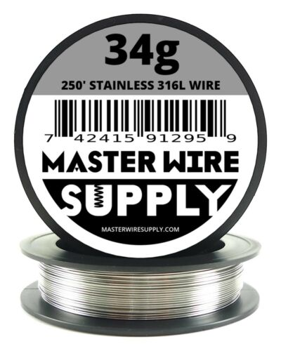 MWS - SS 316L - 250 ft. 34 Gauge AWG Stainless Steel Resistance Wire 34g 250'