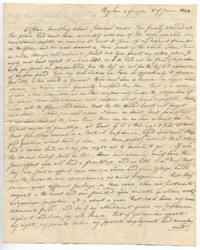 Antique 1799 GENESEO NEW YORK Handwritten Manuscript Letter PHILOSOPHY OF LOVE