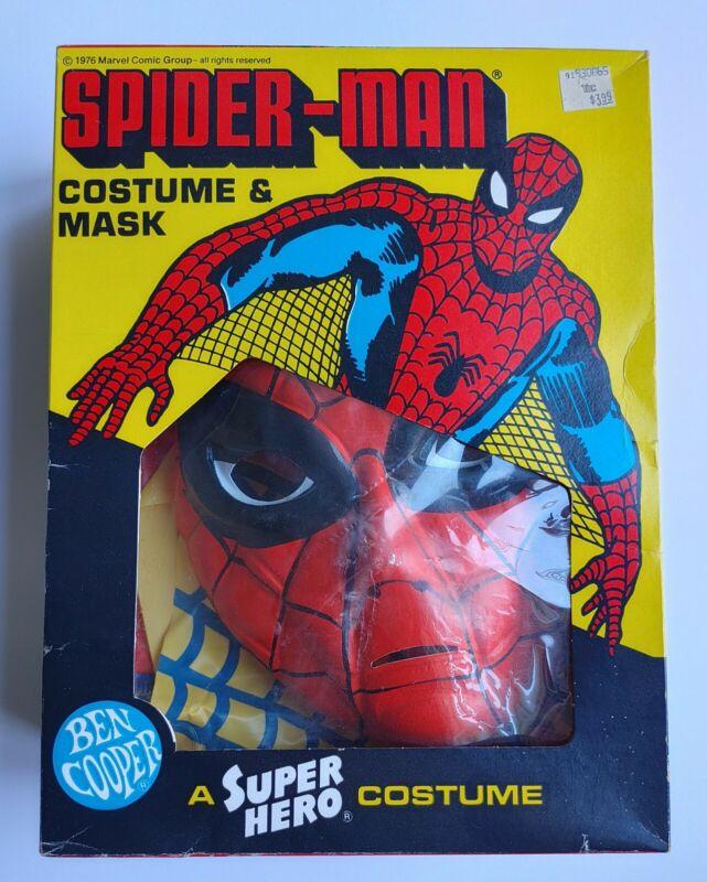 Ben Cooper Spider-Man Super Hero Costume & Mask Size Small 4-6 Cello attached!!!