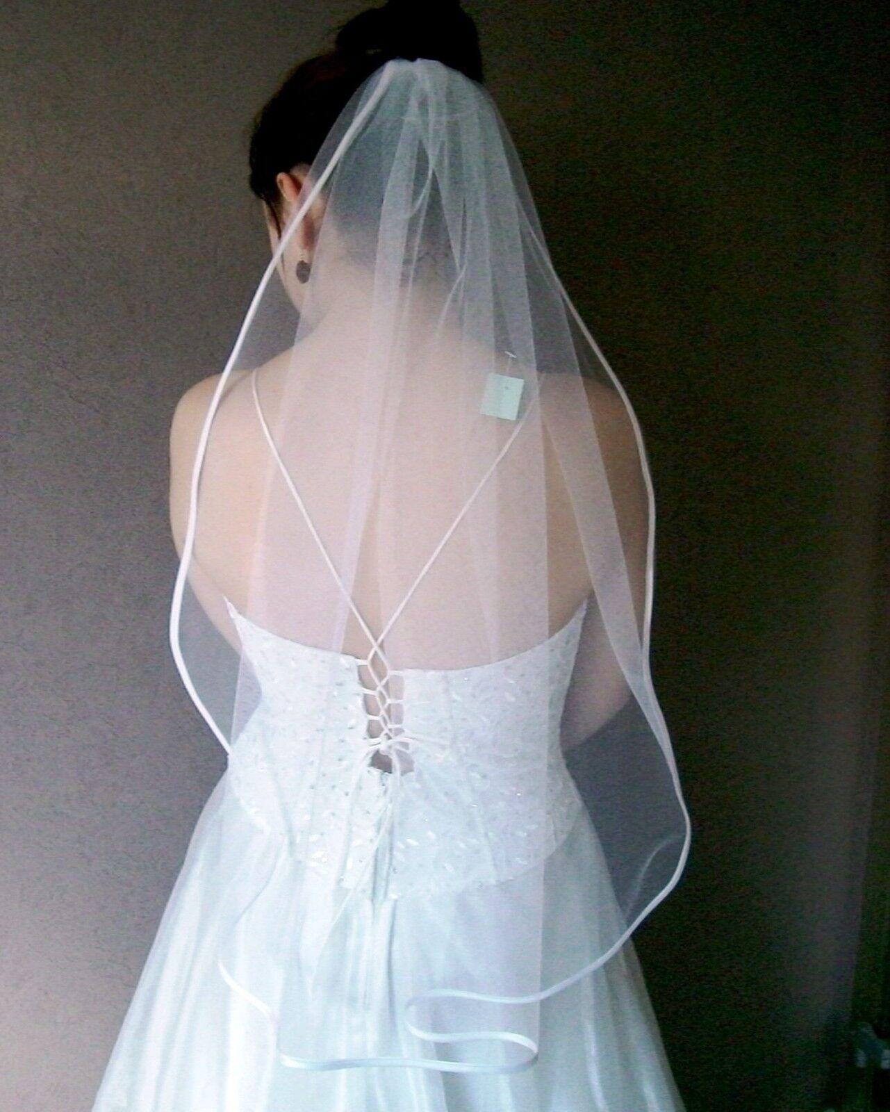 Schleier am Kamm weiß ivory nach Wahl zum Brautkleid Kopfschmuck Haarschmuck neu
