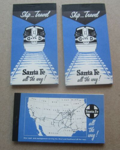 Lot of 3 Old Vintage - SANTA FE RAILWAY - Pocket Size NOTEPADS - Ship - Travel