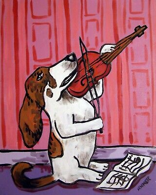 Basset hound  playing the violin picture  DOG ART NOTE CARDS