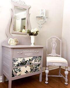 Beautifully refinished vintage dresser with matching chair