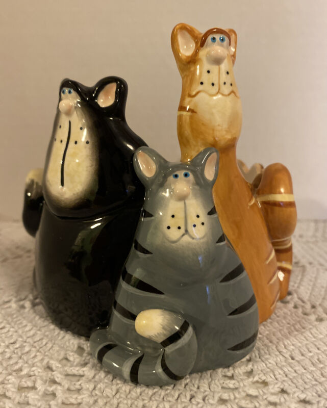 Vintage Russ Pillar Candle Holder Funny Cats