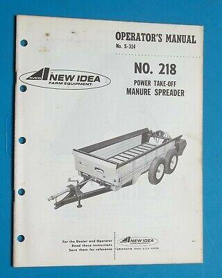 Vintage New Idea Farm Equipment 218 Manure Spreader Operators Manual 1973