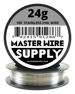 Mws - Ss 316l - 100 Ft. 24 Gauge Awg Stainless Steel Resistance Wire 24g 100