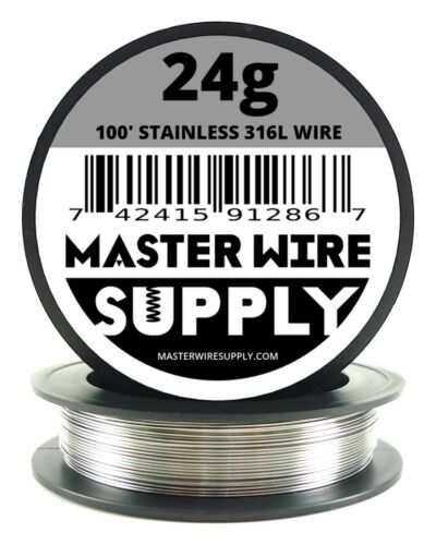 MWS - SS 316L - 100 ft. 24 Gauge AWG Stainless Steel Resistance Wire 24g 100'