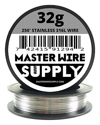 Mws - Ss 316l - 250 Ft. 32 Gauge Awg Stainless Steel Resistance Wire 32g 250