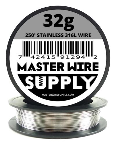 MWS - SS 316L - 250 ft. 32 Gauge AWG Stainless Steel Resistance Wire 32g 250'