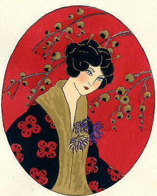 1930s French Pochoir Print Young Geisha Woman Fashion Kimono Red Flowers (S)
