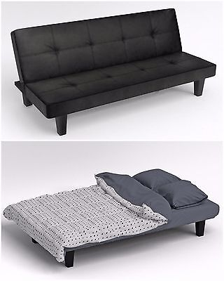 MODERN BLACK FAUX LEATHER CLICK CLACK FOLD DOWN SOFA BED DOUBLE COUCH FURNITURE