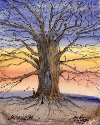 THE WITCH TREE  Halloween Sunset Oak Tiny Witches Signed Print JOHN RANDALL YORK (The Halloween Tree Art)