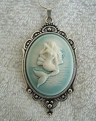 MERMAID Ocean Blue CAMEO Silver PENDANT NECKLACE .925 Silver plated Chain - Ocean Blue Plate