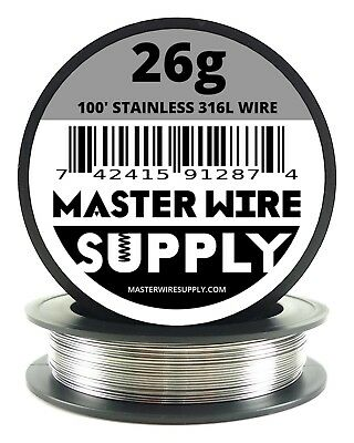 Mws - Ss 316l - 100 Ft. 26 Gauge Awg Stainless Steel Resistance Wire 26g 100