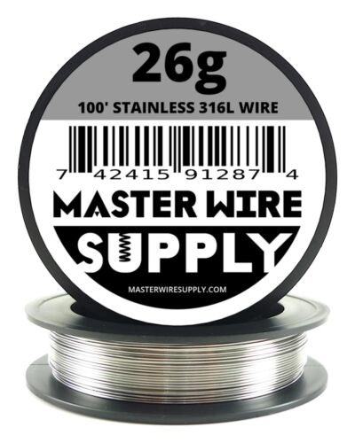 MWS - SS 316L - 100 ft. 26 Gauge AWG Stainless Steel Resistance Wire 26g 100'