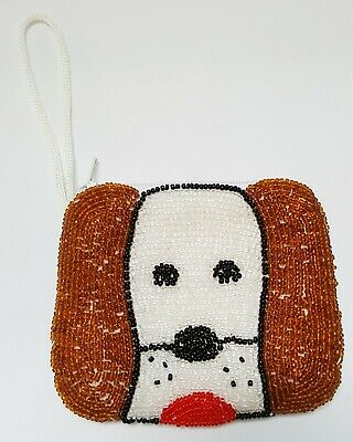 Brown Lot Beaded Puppy Purse Wallet Coin Pet Dog Zipper Small Handmade Gift for sale  Shipping to United States