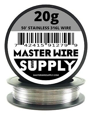Mws - Ss 316l - 50 Ft. 20 Gauge Awg Stainless Steel Resistance Wire 20g 50