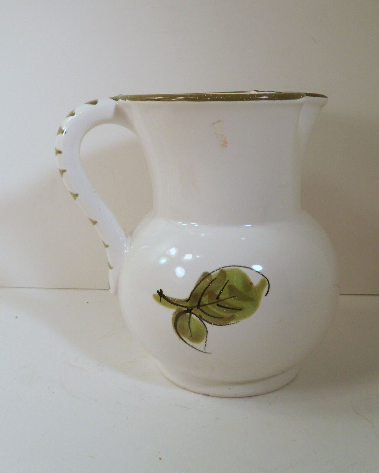 "ITALIAN ART POTTERY PITCHER SIGNED ""DONI"" HAND PAINTED STRAWBERRIES"