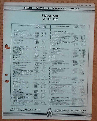 Standard 20hp 1939 model   Lucas Parts List 385  Others available