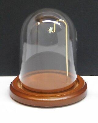 """Plymor 3"""" x 4"""" Glass Display Dome With 4"""" Walnut Wood Base Pocket Watch NEW"""