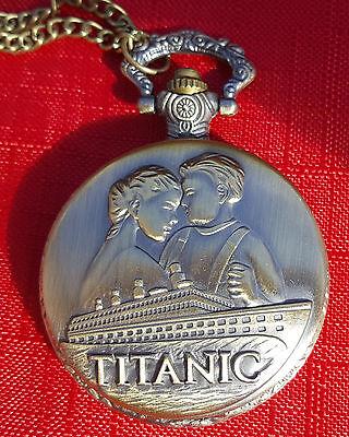 Titanic Retro Antique Pocket Watch Necklace Love Vintage Bronze Womens Mens Old