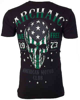 ARCHAIC by AFFLICTION Men T-Shirt SMASHER American Customs USA FLAG Biker $40