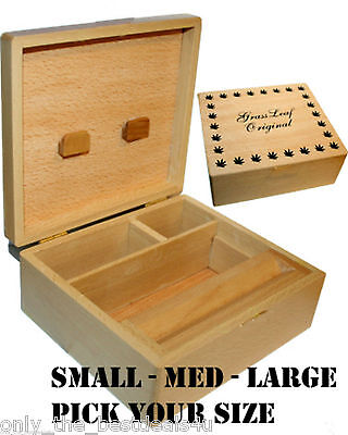 GRASSLEAF WOODEN ROLLING BOX ROLL BOX SMOKING STASH. ALL SIZES, CHOOSE YOURS!