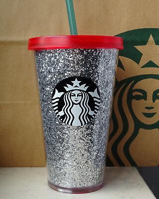 Starbucks Tumbler Thermobecher Cold to Go Weihnachten Glitzer silber 16oz NEU