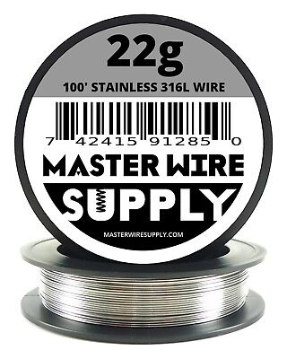 Mws - Ss 316l - 100 Ft. 22 Gauge Awg Stainless Steel Resistance Wire 22g 100