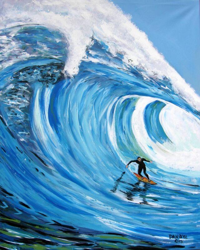 BEACH Ocean Wave Surfer Original Art PAINTING DAN BYL Contemporary Modern 5 feet