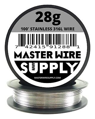 Mws - Ss 316l - 100 Ft. 28 Gauge Awg Stainless Steel Resistance Wire 28g 100