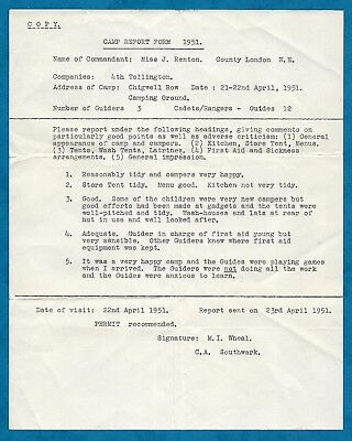 1951 GIRL GUIDE CAMP REPORT 4TH TOLLINGTON GUIDES AT CHIGWELL ROW