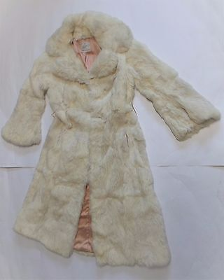 Vintage Elan Long French Rabbit Fur Coat with Bell Sleeves Size Small