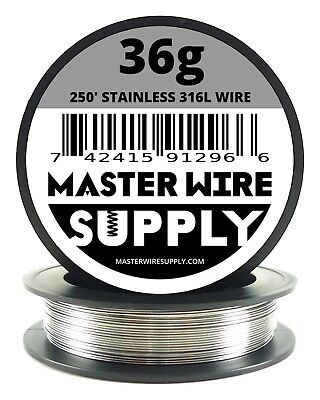 Mws - Ss 316l - 250 Ft. 36 Gauge Awg Stainless Steel Resistance Wire 36g 250